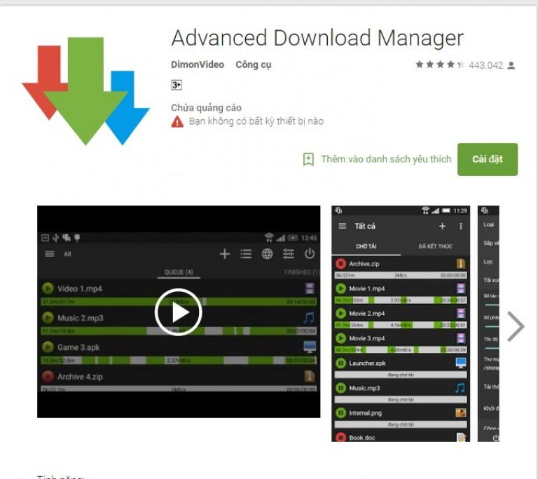 phần mềm tải video cho android